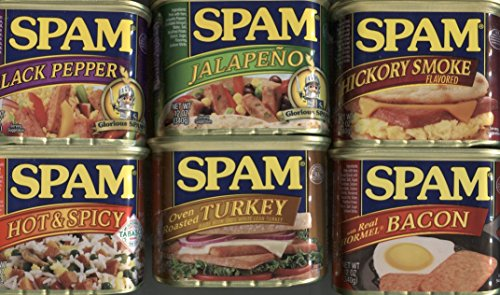 Spam Bundle of 6 Different Flavors: Hot and Spicy, Hickory Smoked, Bacon, Jalapeno, Turkey, and Black Pepper, (Hormel Canned Turkey compare prices)