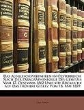 img - for Das Ausgleichsverfahren in Oesterreich: Nach Der Paragraphenfolge Des Gesetzes Vom 17. Desember 1862 Und Mit R cksicht Auf Das Fr here Gesetz Vom 18. Mai 1859 (German Edition) book / textbook / text book