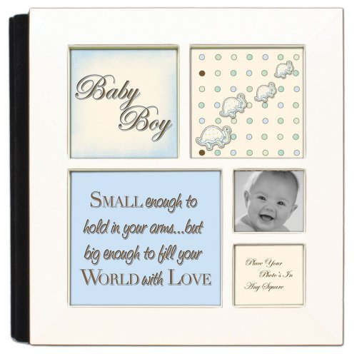 Small Enough To Hold Baby Boy Ivory Cottage Garden Photo Album with Frame