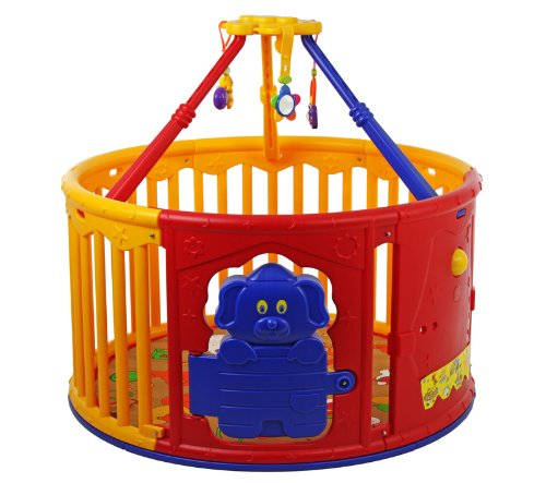Dream On Me Deluxe Circular Playard with Jungle Gym, Yellow/Red - 1