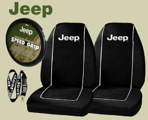 Jeep Logo PAIR Front Bucket Seat Covers & Jeep Comfort Grip Steering Wheel Cover & Jeep Lanyard Keychain Holder (Yj Bucket Seats compare prices)