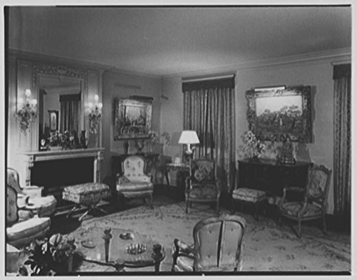 1951 Photo Mr. and Mrs. Ira Haupt, residence at 730 Park Ave., New York City. Living room, to windows Location: New (Party City Locations Nyc)