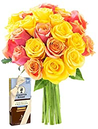 Bouquet of Long-stemmed Orange and Yellow  Roses (Two Dozen with Greens) and Scharffen Berger Chocolate -Without Vase