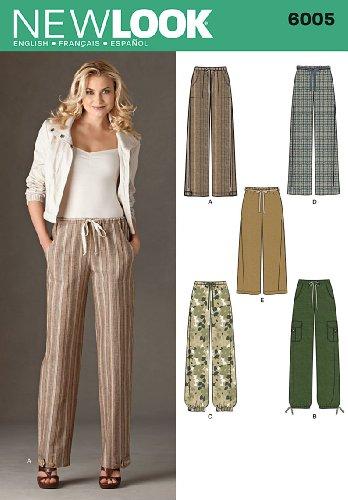 New Look 6005 - Cartamodello per pantaloni da donna, taglie 38/40/42/44/46/48/50