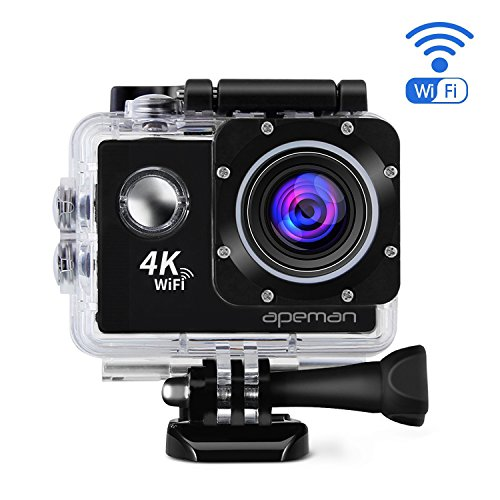 APEMAN 4K Action Cam WIFI Action Sport Camera Impermeabile 170° Grandangolare 2.0 Pollici due 1050mAh Batterie e Kit Accessori con Pacchetto Portatile (Nero)