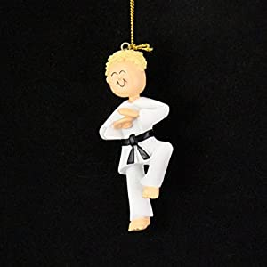 Ornament Central OC-024-MBL Male Karate Blonde Christmas Ornament, 3-1/2-Inch