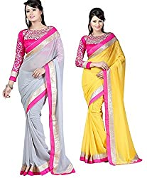 RockChin Fashions Grey saree and yellow saree with embroidered blouse