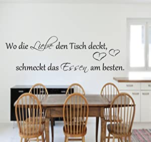 wo die liebe den tisch deckt schmeckt das essen am x 45cm k che wandtattoo. Black Bedroom Furniture Sets. Home Design Ideas