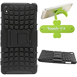 DMG Dual Hybrid Hard Grip Rugged Kickstand Armor Case for Sony Xperia Z3 (Black) + Touch U Mobile Stand