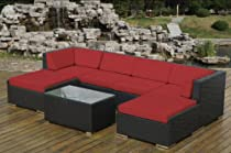 Hot Sale Ohana Collection PN0704SR Sunbrella Outdoor Patio Wicker Furniture 7-Piece Couch Set with Free Patio Cover, Red