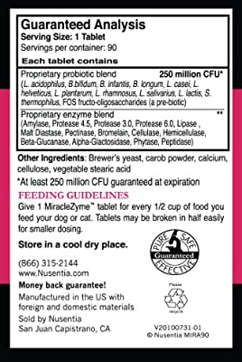 Miraclezyme - Probiotics for Dogs + Enzymes - 90 Ct Chewable Tablets