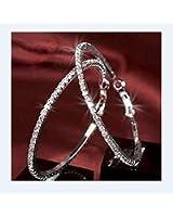 Boucles d'oreilles créoles ornées de cristal de SW blanc Diamètre :6.4
