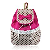 Bessky(TM) 1PC Girl Lovely Sweet Bowknot Leisure Canvas Backpack (Pink)