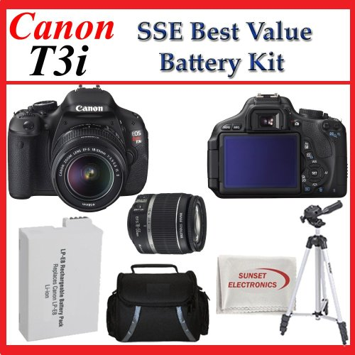 Canon EOS Rebel T3i Digital SLR Camera Kit with EF-S 18-55mm f/3.5-5.6 Lens Kit with SSE Tripod, Case & Battery Package