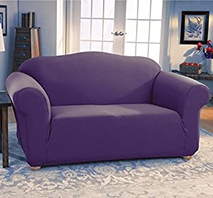 Jersey Stretch Form Fit Couch Cover 2 Pc Slipcover Set Sofa Loveseat Covers Purple