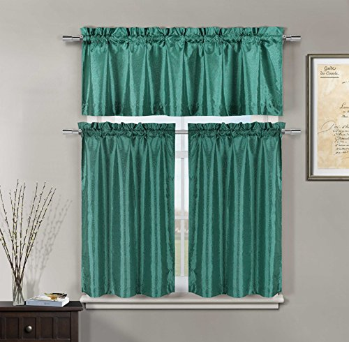 Kitchen Window Curtain Set: Faux Silk, Raised Pin Dots, Floral Design (Teal)