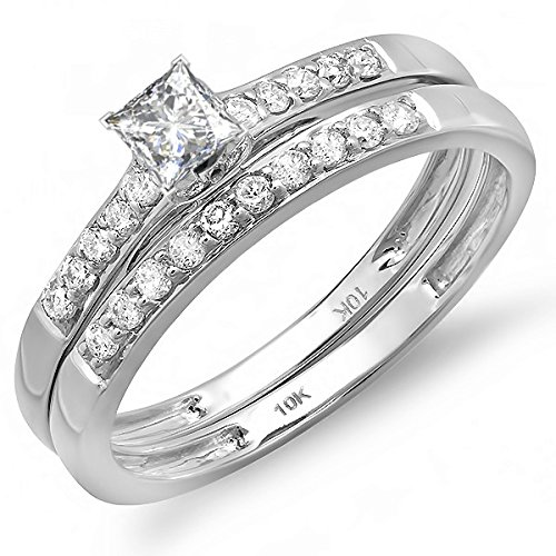 0.58 Carat Classic Bridal Set Princess cut Diamond on 18K White gold
