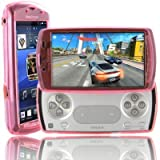 Pink Gel Silicone Case Cover Skin & Screen Protector Kit for Sony Ericsson Xperia PLAY