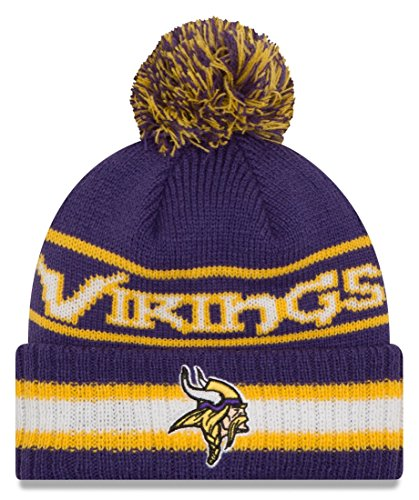 """Minnesota Vikings New Era NFL """"Vintage Select"""" Cuffed Knit Hat Cappello with Pom"""