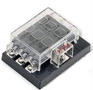 6 way blade fuse box block holder circuit for auto rv boat marine 12v 24v automotive