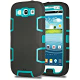 S3 Case, Galaxy S3 Case - ULAK 3in1 Shockproof Hybrid Impact Hard Case Rubber Combo for Galaxy S3 i9300 Shock-Absorption Heavy Duty [Rigid Plastic + Soft Silicone] Case Cover for Samsung Galaxy S3 S III i9300 (Teal PC/Black Silicone)
