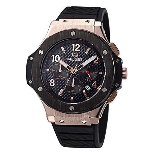 VOEONS Men's Black Silicone Military Watch With Chronograph