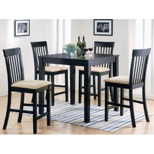 Com 5 Pc Espresso Finish Wood Counter Height Small Dining Table Set