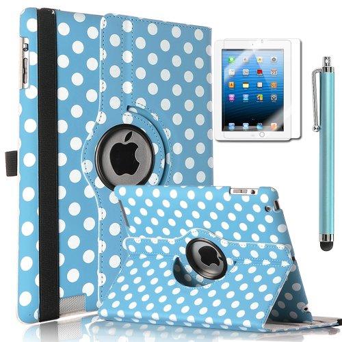ULAK Polka Dot 360 Degree Rotating Magnetic PU Leather stand Case Smart Cover For Apple iPad 2, iPad 3(the new iPad) , iPad 4th Generation with Stylus (Wake/sleep Function) (Aqua blue+White Polka Dot)