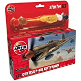 Airfix A50078 Curtiss P-40 Kittyhawk 1:72 Scale Model Small Starter Setby Airfix Military Aircraft