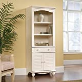 Sauder Harbor View Library with Doors, Antiqued White Finish