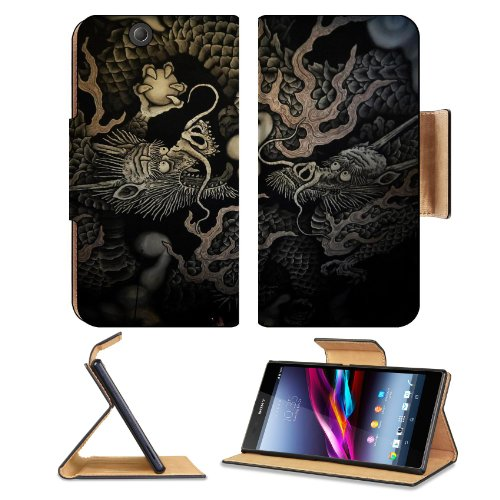 Twin Dragons Temple Black Grey Sony Xperia Z Ultra Flip Case Stand Magnetic Cover Open Ports Customized Made To Order Support Ready Premium Deluxe Pu Leather 7 1/4 Inch (185Mm) X 3 15/16 Inch (100Mm) X 9/16 Inch (14Mm) Msd Sony Xperia Z Ultra Cover Profes front-1041817