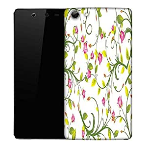 Snoogg Pink Floral Designer Protective Phone Back Case Cover For Micromax Canvas Selfie Q348