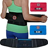 Lower Back Brace & Back Support Belt by Old Bones Therapy : Lower Back Pain Relief for Sciatica, Scoliosis, Herniated Disc & Degenerative Disc Disease. Includes 1 Back Brace + 2 Ice Heat Packs