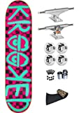 Krooked Checked Out Neon 8.0 Skateboard Deck Complete Independent Trucks Bones 100's 53mm Wheels Jessup Grip Abec 7 Bearings