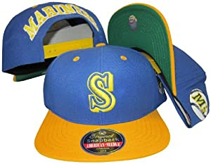 Seattle Mariners Blue/Yellow Two Tone Plastic Snapback Adjustable Snap Back Hat / Cap