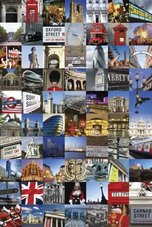 London Collage Art Print Poster - 24x36