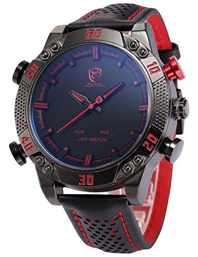 Lo más barato Reloj LED de cuarzo para hombres con correa de piel Shark SH261