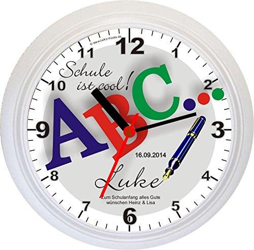 "Lucky Clocks NAMENSUHR – Wanduhr ABC… ""SCHULE IST COOL"" +Namen + Datum + Widmung, weiß, Geschenk Geschenkidee Schulanfang Einschulung Erster 1. Schultag A B C Schüler Schütze Schulanfänger Kinder mit Vorname Glücksbringer Viel Glück zum Schulbeginn kaufen"