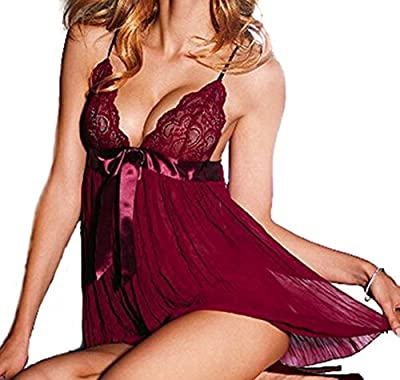 beautyin Women's Lace Babydoll Lingerie Sexy Chemise Sleepwear with G String Set