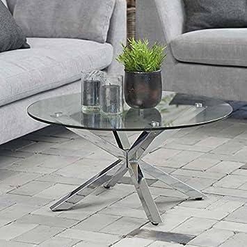 Diseño mesa de centro Star, vidrio, cromo, 82 cm