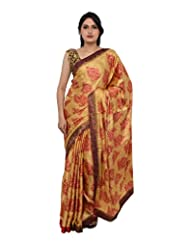 Chandan Sarees Crepe Silk Self Print Chiku With Chilli Red Print Saree