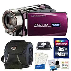 Bell and Howell DNV16HDZ-MFull Infrared Night Vision Camcorder in Maroon + 16GB Accessory Kit & 25 Free Prints