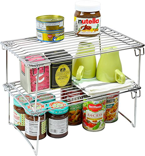2 Pack - DecoBros Stackable Kitchen Cabinet Organizer, Chrome (Can Shelf compare prices)