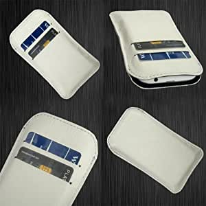 i-KitPit Quality PU Leather Pouch Case Cover For Karbonn A35 (WHITE)