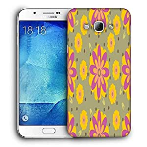 Snoogg Yellow Floral Printed Protective Phone Back Case Cover For Samsung Galaxy A8