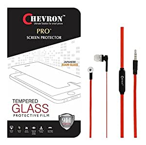 Chevorn 0.3mm Pro Tempered Glass Screen Protector For Letv Le 1S With 3.5mm Pro Red Stereo Earphones