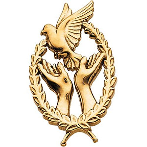 14K Yellow Gold Wings of Remembrance Lapel Pin - 29.25x17.75mm