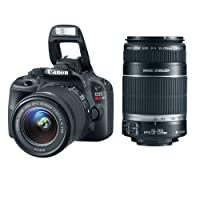 Canon EOS Digital Rebel SL1 EF-S 18-55mm IS STM Lens Kit with Canon EF-S 55-250mm IS II Telephoto Zoom Lens and Official Canon USA Warranties from Canon