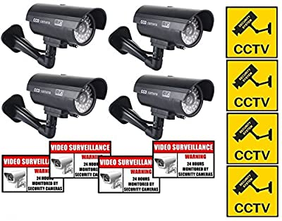 Rockmount Electronics (4 Pack) Outdoor/Indoor Dummy Security Cameras Fake Bullet Surveillance Cameras Simulated Infrared LEDs with Flashing Light with (8 Pack) Security Warning Sign Decal Stickers