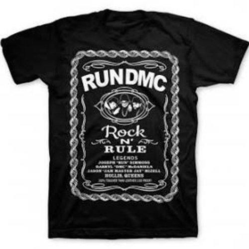Run DMC - Uomo Rock and Rule Whiskey Label T-Shirt, Medium, Nero